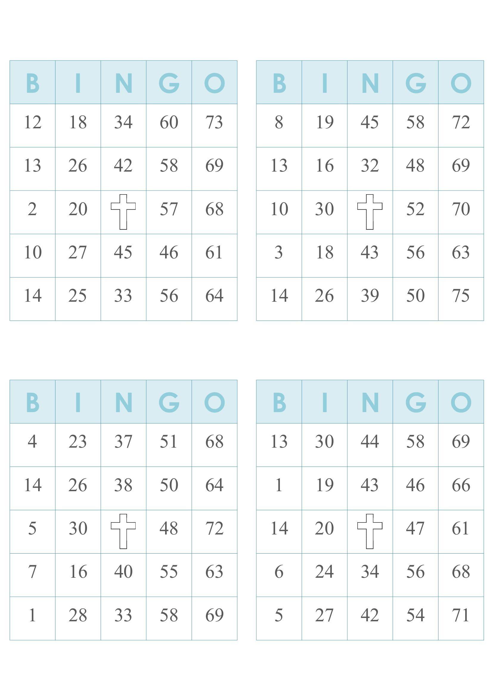 Printable Bingo Cards 4 Per Page PDF Printable Bingo Cards